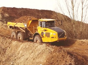Volvo loaded dump truck