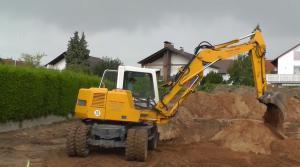 mobile excavator digging