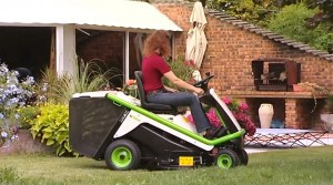 Etesia lawn mower in the garden