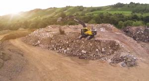 Construction work with a crawler excavator