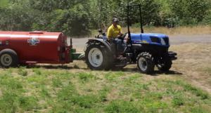 orchard tractor in an orchard