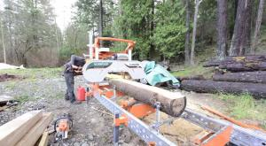 portable sawmill in forest