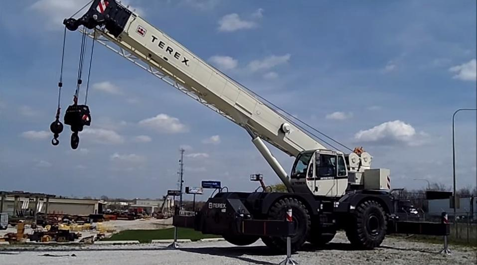 Rough terrain crane at a company yard