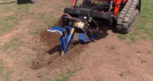 Chain trencher at work