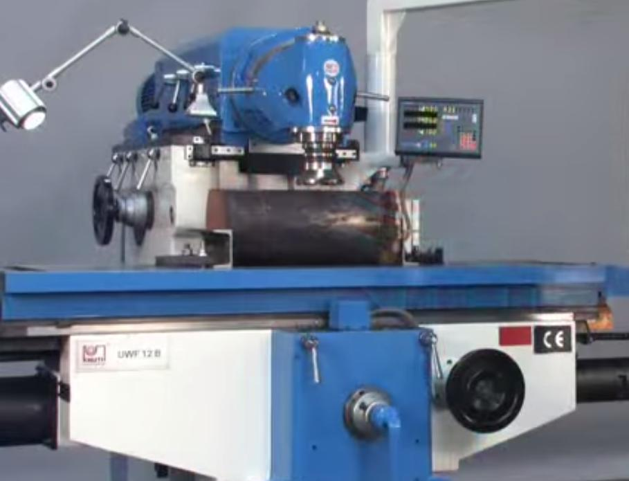 A universal milling machine under operation