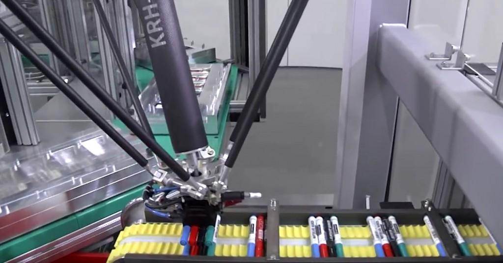Deltaroboter-einsortieren von Stiften