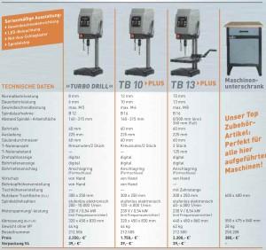 TB13 Varianten Tischbohrmaschine Flott